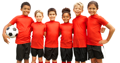 Kids in soccer uniforms with their arms around each other.